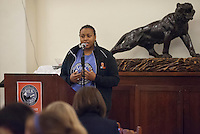 Photo from the closing ceremonies of Occidental College's MLK Day of Service on Saturday, Jan. 28, 2012. Students, staff and alumni volunteered their day to help in the community. (Photo by Marc Campos, Occidental College Photographer)