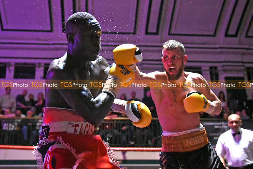 John O'Donnell (black/gold shorts) defeats Erick Ochineg during a Boxing Show at York Hall on 18th March 2017 John O'Donnell (black/gold shorts) defeats Erick Ochieng during a Boxing Show at York Hall on 18th March 2017