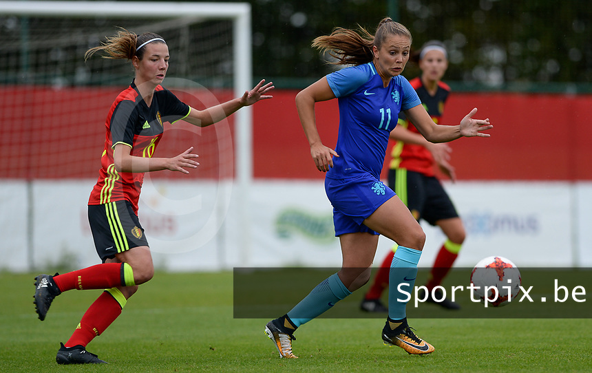 20170914 - TUBIZE ,  BELGIUM : Belgian Nicky Van Den Abbeele (left) pictured with Dutch Lieke Martens (r) during the friendly female soccer game between the Belgian Red Flames and European Champion The Netherlands , a friendly game in the preparation for the World Championship qualification round for France 2019, Thurssday 14 th September 2017 at Euro 2000 Center in Tubize , Belgium. PHOTO SPORTPIX.BE | DAVID CATRY