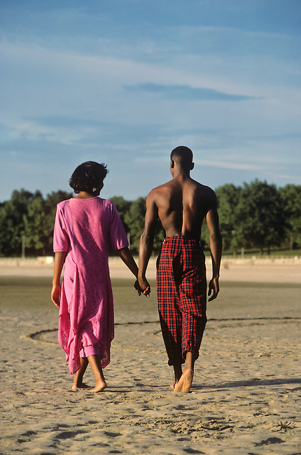 Model Released. African American couple at Orchard Beach. Bronx,  New York.