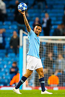 Manchester City's Gabriel Jesus takes the match ball after scoring a hat trick <br /> <br /> Photographer Alex Dodd/CameraSport<br /> <br /> UEFA Champions League Group F - Manchester City v Shakhtar Donetsk - Wednesday 7th November 2018 - City of Manchester Stadium - Manchester<br />  <br /> World Copyright &copy; 2018 CameraSport. All rights reserved. 43 Linden Ave. Countesthorpe. Leicester. England. LE8 5PG - Tel: +44 (0) 116 277 4147 - admin@camerasport.com - www.camerasport.com