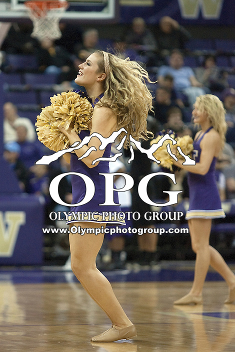 Dec 22, 2011:  Washington cheerleader Hannah Tripp entertained the crowed during a timeout against Cal State Northridge.  Washington defeated Cal State Northridge 74-51 at Alaska Airlines Arena Seattle, Washington. ..