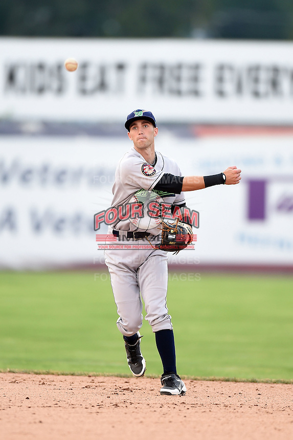 Jamestown Jammers second baseman Erik Forgione (25) throws to first during a game against the Batavia Muckdogs on July 7, 2014 at Dwyer Stadium in Batavia, New York.  Batavia defeated Jamestown 9-2.  (Mike Janes/Four Seam Images)