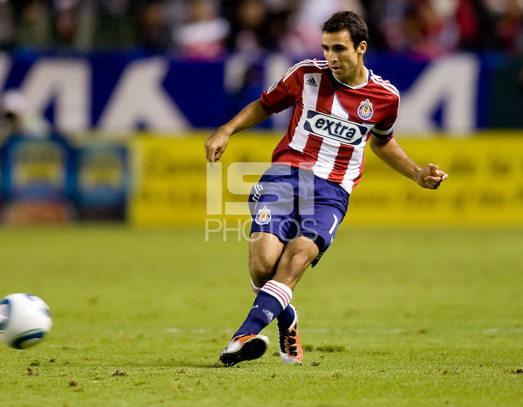 Chivas USA midfielder Jonathan Bornstein passes off the ball in his last game as a CD Chivas USA player before moving on to Mexico. The Chicago Fire defeated CD Chivas USA 3-1 at Home Depot Center stadium in Carson, California on Saturday October 23, 2010.