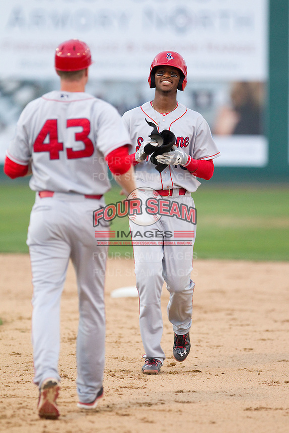 Ti'Quan Forbes (10) of the Spokane Indians during a game against the Everett Aquasox at Everett Memorial Stadium in Everett, Washington on July 24, 2015.  Everett defeated Spokane 8-6. (Ronnie Allen/Four Seam Images)