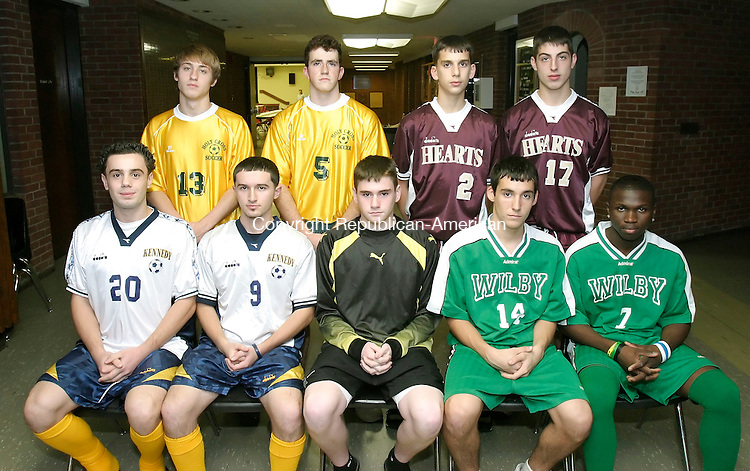 WATERBURY, CT 30 November 2005 -113005BZ12-   <br /> <br /> ALL-CITY BOYS SOCCER<br /> <br /> BACK ROW FROM LEFT- Devin Regan, Holy Cross; Fred Murphy, Holy Cross; Joe Rinaldi, Sacred Heart; Rob Malaspina, Sacred Heart<br /> <br /> FRONT ROW FROM LEFT-  Klevian Postol, Kennedy; Taulant Baci, Kennedy; Sean McCarthy, Kennedy; John Janowitz, Wilby; Mohamed Conteh, Wilby<br /> <br /> NOT IN PHOTO- Crosby Paolo Silva and Taulant Benga.<br /> <br /> <br /> <br /> Jamison C. Bazinet Republican-American