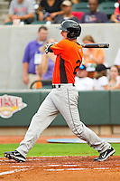 Kipp Shutz #21 of the Frederick Keys follows through on his swing against the Winston-Salem Dash at BB&T Ballpark on August 5, 2011 in Winston-Salem, North Carolina.  The Dash defeated the Keys 10-0.   Brian Westerholt / Four Seam Images