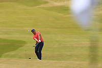 Sam Horsfield (ENG) chips into the 1st green during Saturday's Round 3 of the 2018 Dubai Duty Free Irish Open, held at Ballyliffin Golf Club, Ireland. 7th July 2018.<br /> Picture: Eoin Clarke | Golffile<br /> <br /> <br /> All photos usage must carry mandatory copyright credit (&copy; Golffile | Eoin Clarke)