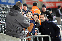 Watford manager Quinque Sanchez Flores poses for a picture with fans before the Barclays Premier League match between Swansea City and Watford at the Liberty Stadium, Swansea on January 18 2016