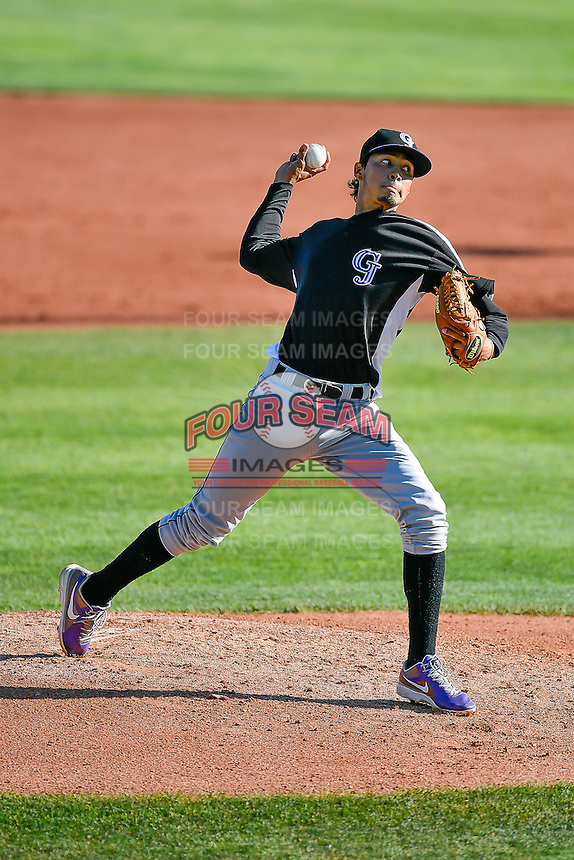 Grand Junction Rockies starting pitcher Yohander Quintana (25) delivers a pitch to the plate against the Orem Owlz in Pioneer League action at Home of the Owlz on July 6, 2016 in Orem, Utah. The Owlz defeated the Rockies 9-1 in Game 1 of the double header.  (Stephen Smith/Four Seam Images)