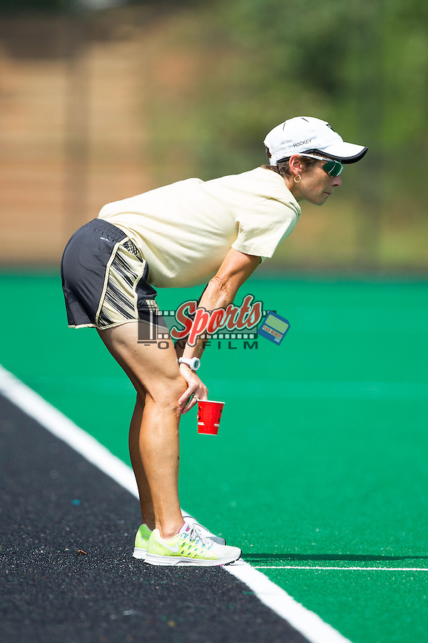 Wake Forest Demon Deacons head coach Jennifer Averill watches from the sidelines during second half action against the Davidson Wildcats at Belk Turf Field on September 7, 2014 in Winston-Salem, North Carolina.  The Demon Deacons defeated the Wildcats 3-0.  (Brian Westerholt/Sports On Film)