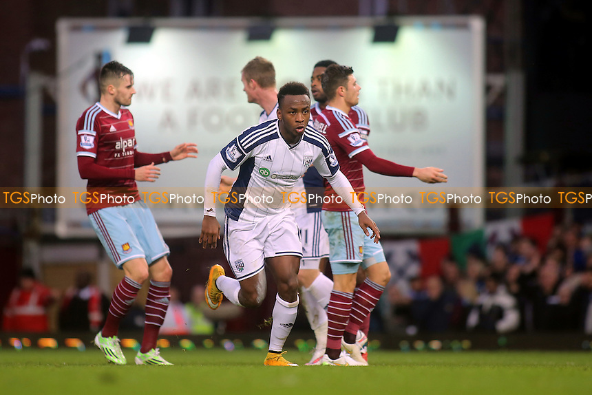 Saido Berahino runs away to celebrate after scoring West Brom's opening goal - West Ham United vs West Bromwich Albion - Barclays Premier League Football at the Boleyn Ground, Upton Park, London - 01/01/15 - MANDATORY CREDIT: Paul Dennis/TGSPHOTO - Self billing applies where appropriate - contact@tgsphoto.co.uk - NO UNPAID USE