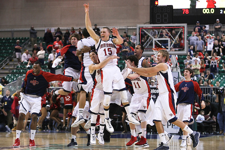 March 05, 2012; Las Vegas, NV, USA; Saint Mary's Gaels celebrate after defeating the Gonzaga Bulldogs during the WCC Basketball Championships finals at Orleans Arena. The Saint Mary's Gaels defeated the Gonzaga Bulldogs 78-74 in overtime.
