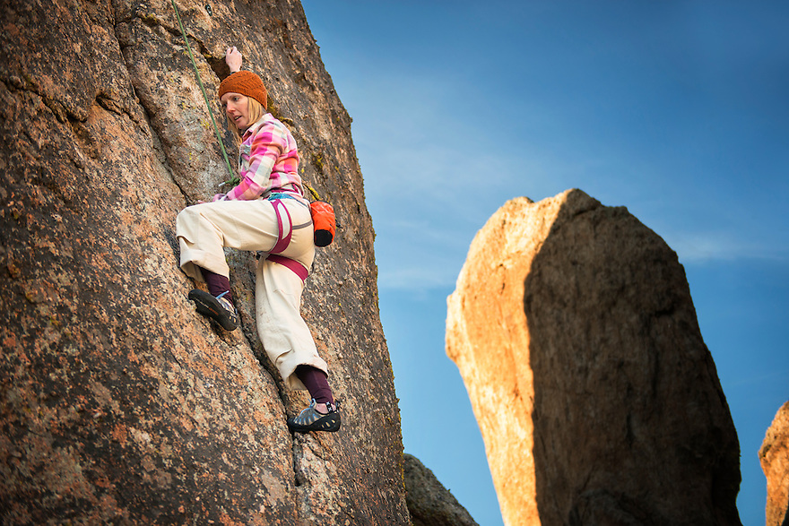 A rock climber scales a route at Revenue Spires in the Tobacco Root Mountains near Norris.