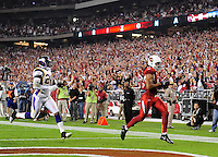 Dec 6, 2009; Glendale, AZ, USA; Arizona Cardinals wide receiver (11) Larry Fitzgerald runs into the endzone with a first half touchdown against the Minnesota Vikings at University of Phoenix Stadium. The Cardinals defeated the Vikings 30-17. Mandatory Credit: Mark J. Rebilas-