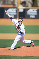 Bucknell Bison relief pitcher Jordan Holtz (32) in action against the Georgetown Hoyas at Wake Forest Baseball Park on February 14, 2015 in Winston-Salem, North Carolina.  The Hoyas defeated the Bison 8-5.  (Brian Westerholt/Four Seam Images)