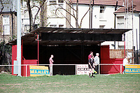 Covered terrace at Clapton FC Football Ground, Old Spotted Dog, Upton Park, London, pictured on 30th March 1996