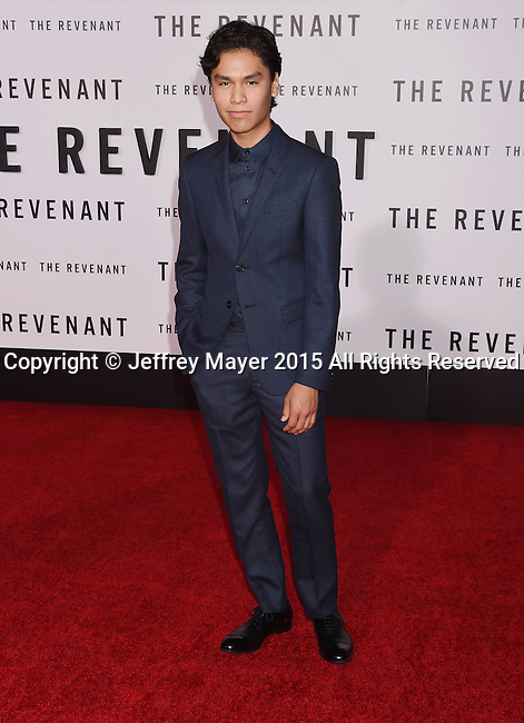 HOLLYWOOD, CA - DECEMBER 16: Actor Forrest Goodluck arrives at the Premiere of 20th Century Fox And Regency Enterprises' 'The Revenant' at TCL Chinese Theatre on December 16, 2015 in Hollywood, California.