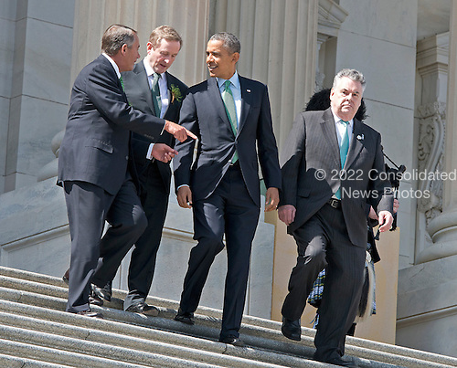 From left to right: Speaker of the United States House of Representatives John Boehner (Republican of Ohio), Prime Minister Enda Kenny of Ireland, U.S. President Barack Obama and U.S. Representative Peter T. King (Republican of New York) depart the U.S. Capitol following a St. Patrick's Day luncheon hosted by Members of Congress in the U.S. Capitol in Washington, D.C. on Friday, March 14, 2014.<br /> Credit: Ron Sachs / Pool via CNP