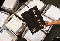Admission staff stuff envelopes that will be sent to accepted applicants of Occidental College, March 22, 2017.<br />
