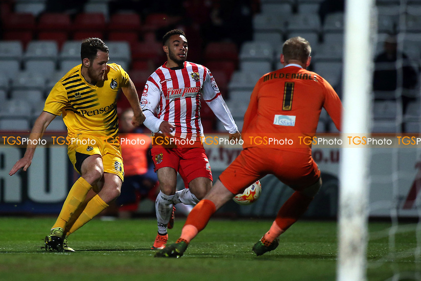 Jake Mulraney of Stevenage takes on the Bristol Rovers defence during Stevenage vs Bristol Rovers, Sky Bet League 2 Football at the Lamex Stadium on 19th April 2016