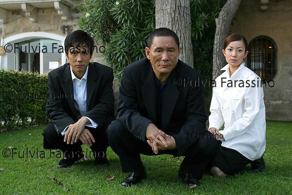 Mostra Internazionale d'Arte Cinematografica di Venezia, Venice Film Festival,4 settembre 2002.Kitano Takeshi, Hidetoshi Nishijima, Miho Kanno