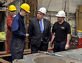 Visit of Alex Salmond to Steel Engineering in Renfrew - here watching the work of and chatting to some fabrication apprentices - Picture by Donald MacLeod - 27.04.11 - 07702 319 738 - www.donald-macleod.com
