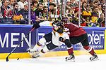 Deutschlands Draisaitl, Leon (Nr.29) geht stark vorbei im Zweikampf mit Lettlands Sotnieks, Kristaps (Nr.11)  beim Spiel der IIHF 2017 WM, Deutschland - Lettland.<br /> <br /> Foto &copy; PIX-Sportfotos *** Foto ist honorarpflichtig! *** Auf Anfrage in hoeherer Qualitaet/Aufloesung. Belegexemplar erbeten. Veroeffentlichung ausschliesslich fuer journalistisch-publizistische Zwecke. For editorial use only.