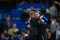 Huddersfield Town manager David Wagner celebrates with team members <br /> <br /> Photographer Craig Mercer/CameraSport<br /> <br /> The Premier League - Chelsea v Huddersfield Town - Wednesday 9th May 2018 - Stamford Bridge - London<br /> <br /> World Copyright &copy; 2018 CameraSport. All rights reserved. 43 Linden Ave. Countesthorpe. Leicester. England. LE8 5PG - Tel: +44 (0) 116 277 4147 - admin@camerasport.com - www.camerasport.com