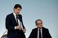 Roma, 24 Luglio 2018<br /> Giuseppe Conte, Giovanni Tria<br /> Conferenza stampa a Palazzo Chigi al termine del Consiglio dei Ministri, Decreto Mille Proroghe