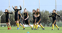 20190226 - LARNACA , CYPRUS :  Belgian players pictured warming up during a Matchday -1 training from The Belgian Red Flames prior to their game against the women team of Slovakia , on Tuesday 26 February 2019 at the Alpha Sports Grounds in Larnaca , Cyprus . This will be the first game in group C for Belgium during the Cyprus Womens Cup 2019 , a prestigious women soccer tournament as a preparation on the European Championship 2021 qualification duels. PHOTO SPORTPIX.BE | DAVID CATRY