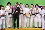 (L to R) Mai Tateyama,  Takeshi Ogawa, Haruka Tachimoto, Kana Abe, Nae Udaka, Yuki Hashimoto (JPN), .April 21, 2013 - Judo : .Asian Judo Championships 2013, Women's Team Competition Medal Ceremony .at Bangkok Youth Centre, Bangkok, Thailand. .(Photo by Daiju Kitamura/AFLO SPORT) [1045]