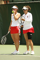 23 May 2006: Alice Barnes and doubles partner Anne Yelsey during Stanford's 4-1 win over the Miami Hurricanes in the 2006 NCAA Division 1 Women's Tennis Team Championships at the Taube Family Tennis Stadium in Stanford, CA.