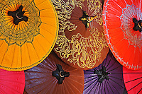Decorative umbrellas for sale in the village of Bo Sang, near Chiang Mai, Thailand