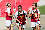 Los Angeles, CA 04/22/16 - Courtney Tarleton (USC #1) in action during the NCAA Stanford-USC Division 1 women lacrosse game at the Los Angeles Memorial Coliseum.  USC defeated Stanford 10-9/