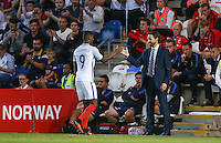 a delighted England U21 Gareth Southgate congratulates Marcus Rashford (Manchester United) as he comes off during the International EURO U21 QUALIFYING - GROUP 9 match between England U21 and Norway U21 at the Weston Homes Community Stadium, Colchester, England on 6 September 2016. Photo by Andy Rowland / PRiME Media Images.