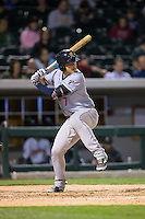 Austin Romine (7) of the Scranton\Wilkes-Barre RailRiders at bat against the Charlotte Knights at BB&T BallPark on May 1, 2015 in Charlotte, North Carolina.  The RailRiders defeated the Knights 5-4.  (Brian Westerholt/Four Seam Images)