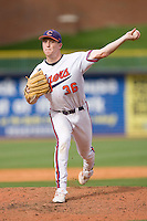 Casey Harman #36 of the Clemson Tigers in action versus the North Carolina Tar Heels at Durham Bulls Athletic Park May 23, 2009 in Durham, North Carolina. The Tigers defeated the Tar Heals 4-3 in 11 innings.  (Photo by Brian Westerholt / Four Seam Images)