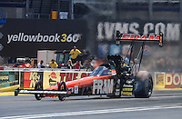 Apr. 1, 2012; Las Vegas, NV, USA: NHRA top fuel dragster driver Spencer Massey during the Summitracing.com Nationals at The Strip in Las Vegas. Mandatory Credit: Mark J. Rebilas-