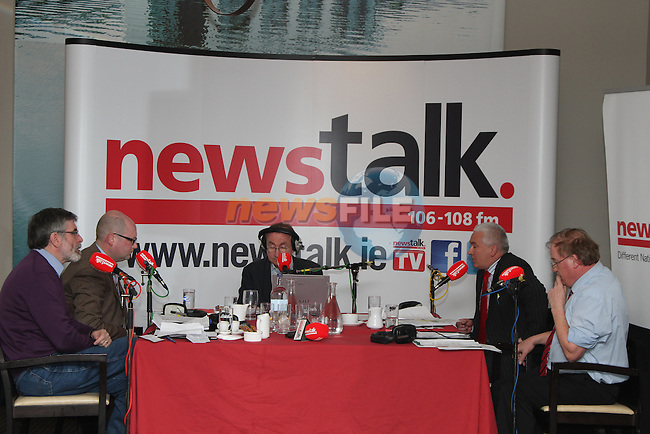 Newstalk interview Sinn Fein's Gerry Adams, Labour's Gerald Nash, Independent Frank Godfrey and Fianna Fail's Declan Breathnach in the DHotel, Drogheda...(Photo credit should read Jenny Matthews/www.newsfile.ie)....This Picture has been sent you under the conditions enclosed by:.Newsfile Ltd..The Studio,.Millmount Abbey,.Drogheda,.Co Meath..Ireland..Tel: +353(0)41-9871240.Fax: +353(0)41-9871260.GSM: +353(0)86-2500958.email: pictures@newsfile.ie.www.newsfile.ie.