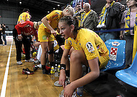 """1. Bundesliga Handball Damen - Frauen Handball BL DHB - Arena Leipzig - HC Leipzig : TSV Bayer 04 Leverkusen """"Handballelfen"""" - im Bild: Luisa Schulze . Foto: Norman Rembarz..Norman Rembarz , Autorennummer 41043728 , Augustenstrt. 2, 04317 Leipzig, Tel.: 01794887569, Hypovereinsbank: BLZ: 86020086, KN: 357889472, St.Nr.: 231/261/06432 - Jegliche kommerzielle Nutzung ist honorar- und mehrwertsteuerpflichtig! Persönlichkeitsrechte sind zu wahren. Es wird keine Haftung übernommen bei Verletzung von Rechten Dritter. Autoren-Nennung gem. §13 UrhGes. wird verlangt. Weitergabe an Dritte nur nach  vorheriger Absprache.."""