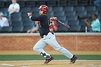 Matthew Acosta (6) of the USC Trojans follows through on his swing against the Wake Forest Demon Deacons at David F. Couch Ballpark on February 24, 2017 in  Winston-Salem, North Carolina.  The Demon Deacons defeated the Trojans 15-5.  (Brian Westerholt/Four Seam Images)