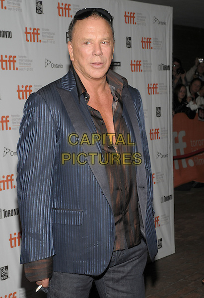 "MICKEY ROURKE .""Passion Play"" Premiere - 2010 Toronto International Film Festival held at Ryerson Theatre, Toronto, Ontario, Canada, 10th September 2010..half length blue jacket shirt brown suit shiny two tone smoking cigarette .CAP/ADM/BPC.©Brent Perniac/AdMedia/Capital Pictures."