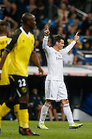 30.10.2013 SPAIN -  La Liga 13/14 Matchday 11th  match played between Real Madrid CF vs Sevilla Futbol Club at Santiago Bernabeu stadium. The picture show  Gareth Bale (Wales midfielder of Real Madrid) celebrating his team's goal