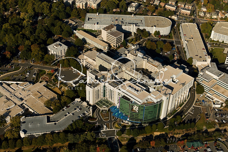 Aerial view of Charlotte's Carolinas HealthCare System, the largest healthcare system in the Carolinas, and the third largest public system in the nation.