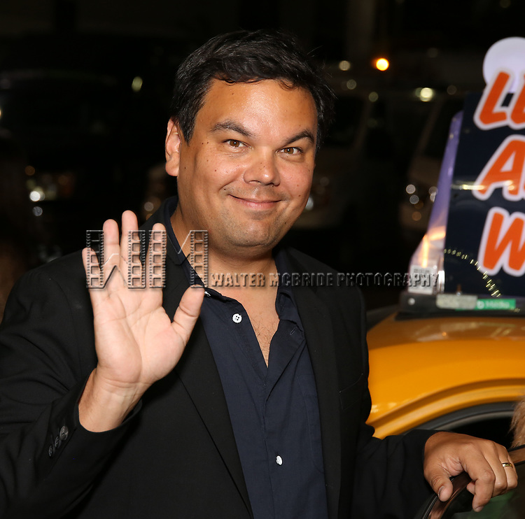 Robert Lopez taking the 'Avenue Q' - 15th Anniversary Performance Taxi Cab at New World Stages on July 31, 2018 in New York City.
