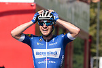 Remco Evenepoel (BEL) Deceuninck-Quick Step can't believe it as he wins the 2019 Clasica Ciclista San Sebastian, his first World Tour victory, running 227.3km starting and finishing in Donostia-San Sebastián, Spain. 3rd August 2019.<br /> Picture: Colin Flockton | Cyclefile<br /> All photos usage must carry mandatory copyright credit (© Cyclefile | Colin Flockton)