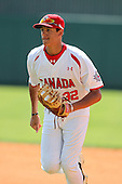 Team Canada Bryan Saucedo #32 during an exhibition game vs. the Toronto Blue Jays at Al Lang Field in St. Petersburg, Florida;  March 4, 2011.  Toronto defeated Team Canada 9-0.  Photo By Mike Janes/Four Seam Images