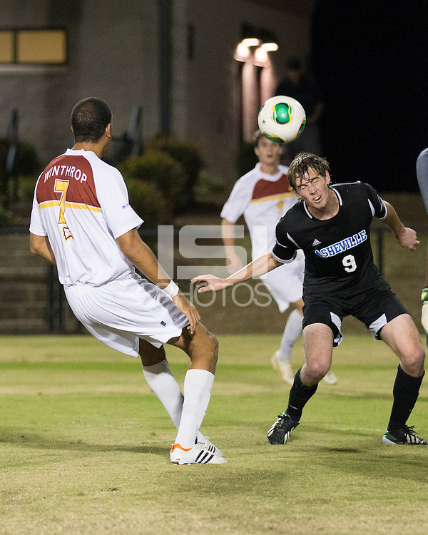 The Winthrop University Eagles beat the UNC Asheville Bulldogs 4-0 to clinch a spot in the Big South Championship tournament.  Stabler Cochrane (9), Achille Obougou (7)