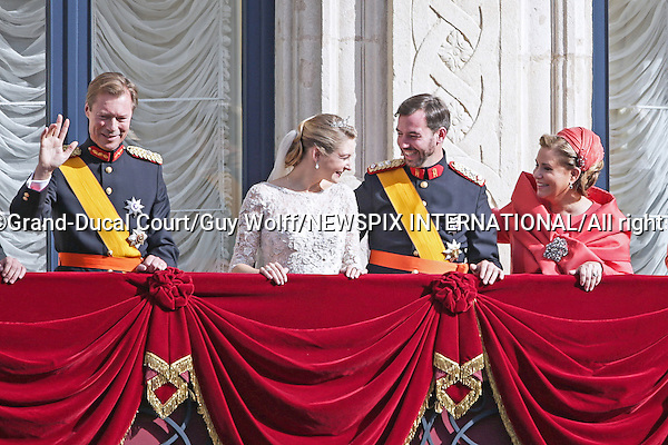 "Wedding of HRH the Hereditary Grand Duke Guillaume and Countess Stéphanie de Lannoy.The couple make an appearnce on the balcony of the Grand-Ducal Palace,  Luxembourg_20-10-2012.Mandatory credit photo: ©Grand-Ducal Court/Guy Wolff/NEWSPIX INTERNATIONAL..(Failure to credit will incur a surcharge of 100% of reproduction fees)..                **ALL FEES PAYABLE TO: ""NEWSPIX INTERNATIONAL""**..IMMEDIATE CONFIRMATION OF USAGE REQUIRED:.Newspix International, 31 Chinnery Hill, Bishop's Stortford, ENGLAND CM23 3PS.Tel:+441279 324672  ; Fax: +441279656877.Mobile:  07775681153.e-mail: info@newspixinternational.co.uk"